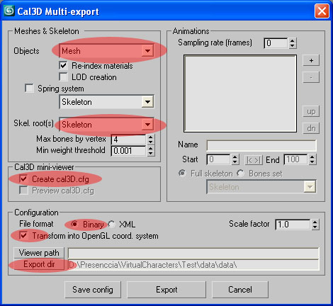 Exporting Cal3D character from Max